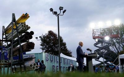 Democratic presidential candidate Joe Biden speaks to members of a plumbers' union in Erie, Pa., Oct. 10, 2020.