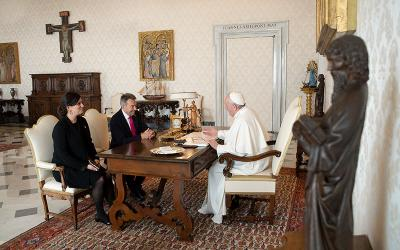 Pope Francis meets with Peter Maurer, president of the International Committee of the Red Cross, during a private meeting at the Vatican Oct. 19, 2020.