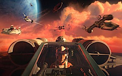 "A pilot is shown in the cockpit in a scene from the video game ""Star Wars: Squadrons."""