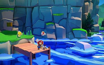 "This is a scene from the video game ""Paper Mario: The Origami King."""