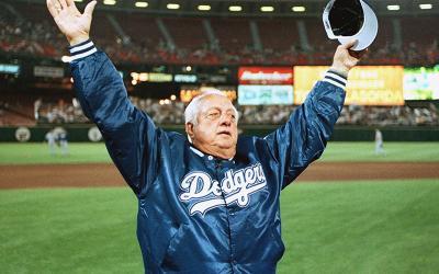 Hall of Fame Los Angeles Dodgers manager Tommy Lasorda is pictured in a Sept. 30, 1999 photo.