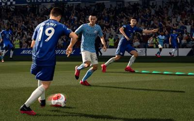"This is a scene from the video game ""FIFA 21."""