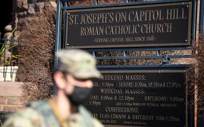 A National Guard member is seen near St. Joseph's on Capitol Hill Church in Washington Jan. 19, 2021.