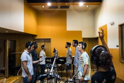 Young people record the official theme song for the Lisbon 2023 World Youth Day in Torres Vedras, Portugal, Aug. 5, 2020.