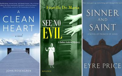"""These are the covers of """"A Clean Heart"""" by John Rosengren; """"See No Evil: A Father Gabriel Mystery"""" by Fiorella De Maria; and """"Sinner and Saint: A Novel of Francis of Assisi"""" by Eyre Price."""
