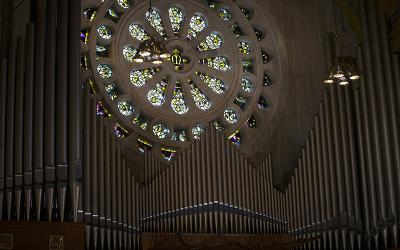 The organ pipes at the Basilica of the National Shrine of the Immaculate Conception in Washington are seen April 25, 2019.