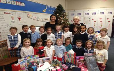 """<p>Marie Thomasulo's kindergarten class at Seton Catholic School in Brighton """"adopted"""" a family in need and collected donations for them this Christmas.   </p>"""