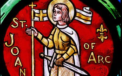 The likeness of St. Joan of Arc is seen at St. Paul Episcopal Cathedral in Springfield, Ill.