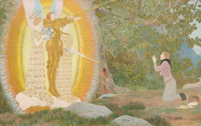 """This St. Joan of Arc painting is titled """"The Vision and Inspiration"""" by Louis Maurice Boutet de Monvel."""