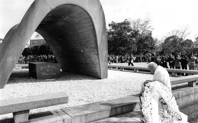 Then-Pope John Paul II prays in 1981 at a monument for the victims of the atomic bombing in Hiroshima, Japan.