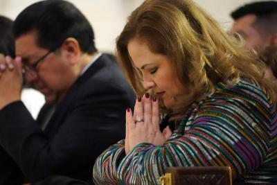 Rosemary Arauz, Guatemala's consul general in New York, prays during a special Mass in honor of the Black Christ of Esquipulas, Guatemala, at St. Patrick's Cathedral.