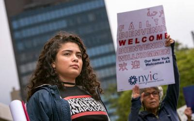 """Dreamer"" Kemberly Gil Gachancipa takes part in a Sept. 8, 2017, rally to demand congressional action on the Deferred Action for Childhood Arrivals (DACA) program. (File photo)"