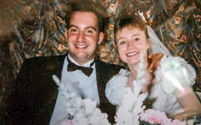 <p>Joe and Jennifer Ficcaglia on their wedding day Aug. 12, 1995.</p>