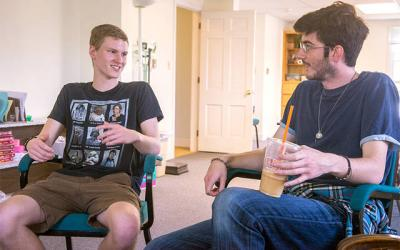 <p>Liam Bailey, who will be a college freshman this fall, and FOCUS missionary Jim Davey talk about about faith on campus during a discussion at St. John the Evangelist Church in Spencerport May 5. (Courier photo by John Haeger) </p>