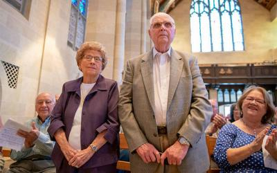 <p>Anthony and Josephine Matroniano are recognized on their 71 years of marriage during the annual Wedding Jubilee Mass at Rochester's Sacred Heart Cathedral May 6. (Courier photo by Jeff Witherow) </p>