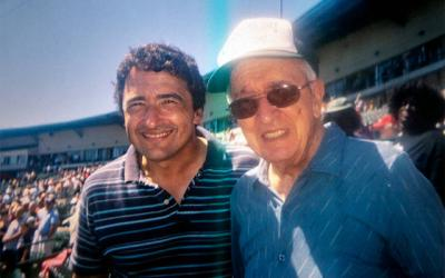 <p><em>Catholic Courier</em> Staff Writer Mike Latona and his father, Pat, at a Rochester Red Wings baseball game in 2007.  </p>