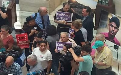 <p>Members of faith groups gather June 21 at the U.S. Capitol in Washington to protest the Trump administration's treatment of immigrants.  </p>