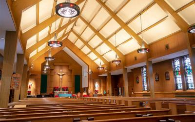 <p>Corning&rsquo;s St. Vincent de Paul Church has been closed since June 30 when a heavy board fell from the ceiling during a Saturday Mass. (Courier photo by Jeff Witherow)  </p>