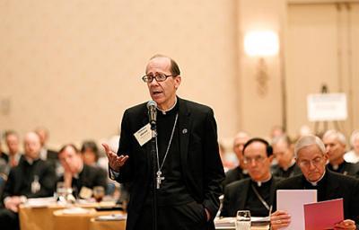 Bishop Thomas J. Olmsted of Phoenix speaks from the floor during the U.S. bishops' meeting in Baltimore Nov. 11.
