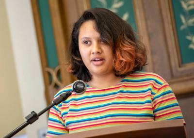 <p>During the Aug. 9 workshop &ldquo;Sharing the Journey: Responding to Immigrants with Knowledge and Compassion,&rdquo; 17-year-old Nancy Aguilera shares the story of her family&rsquo;s struggles following her father&rsquo;s deportation two years ago. (Courier photo by Jeff Witherow)  </p>
