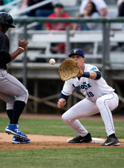 Ryan Uhl, a parishioner of Sacred Heart Parish, St. Marys, Pa., catches a ball during a game in late June. Uhl was picked in the 7th round of the Major League Baseball draft this summer. He's currently playing for the Seattle Mariners' minor league team, the Everett AquaSox.