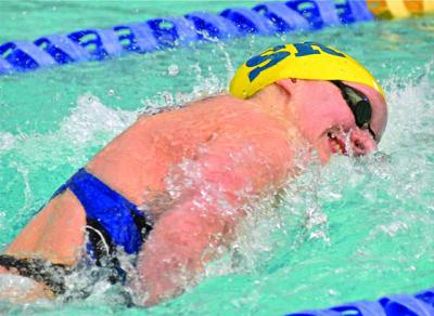 CNS photo/Michael Hoyt, Catholic Standard Swimmer Katie Ledecky, shown in a January 2015 home meet at Stone Ridge School of the Sacred Heart in Bethesda, Md., will be among Washington-area Catholics competing in this summer's Olympic Games in Rio de Janeiro.