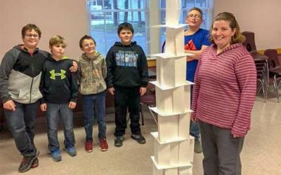 <p>Stacey O'Dell, a prevention educator for Steuben Council on Addictions, poses Nov. 13 with her students and a project they produced during a program at Addison Youth Center. (Photo courtesy of Barb McCollumn)  </p>