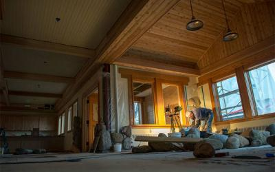 <p>Workers complete interior masonry work Nov. 26 as part of a renovation project at the Abbey of the Genesee in Piffard. (Courier photo by Jeff Witherow) </p>