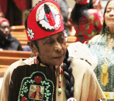 <p>In this undated photo, Chief Buffy Red Feather Brown, leader of the Southeastern Cherokee Confederacy of Pennsylvania Earth Band, is seen at the annual cultural heritage Mass at the Cathedral Basilica of SS. Peter and Paul in Philadelphia. (CNS photo by Sarah Webb)  </p>