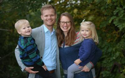 <p>Timothy, Tyler, Brittany and June Blanski pose for a photo their home in early October in Eden Prairie, Minn. Tyler Blanski&rsquo;s book, &ldquo;An Immovable Feast&rdquo; is being hailed by Catholic thought leaders as a conversion story for the millennial generation. (CNS photo by Dave Hrbacek)  </p>