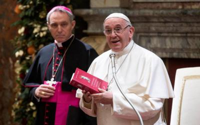 <p>Pope Francis gives his annual pre-Christmas speech to officials of the Roman Curia and cardinals present in Rome Dec. 21 in the Clementine Hall of the Apostolic Palace. (CNS photo by Vatican Media)  </p>