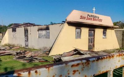 <p>A fire destroyed San Juan Bautista Church in the Dominican Republic town of Don Juan on Jan. 17.  </p>