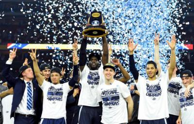 Villanova Wildcats forward Daniel Ochefu hoists the national championship trophy with teammates April 4 after defeating the North Carolina Tar Heels 77-74 in the 2016 NCAA Men's Final Four in Houston. Jenkins is a 2013 graduate of Gonzaga College High School in Washington. Villanova was founded by the order of St. Augustine in 1842.
