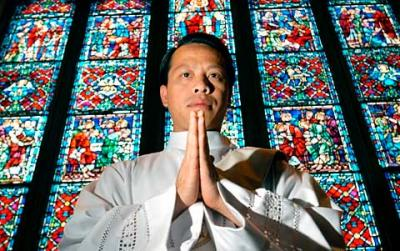 It is common for priests newly ordained in American dioceses — such as Father Hoan Dinh (above) — to be in their 30s or older, and to have been born outside of the U.S