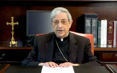 <p> Bishop Matano addresses the faithful in a video. </p>