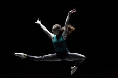 """Katherine Monogue performs during William Forsythe's """"In the Middle, Somewhat Elevated"""" at Keller Auditorium in Portland Oct. 6, 2016. A devout Catholic, Monogue often draws comparisons between her faith and the inspiration she feels as a dancer."""