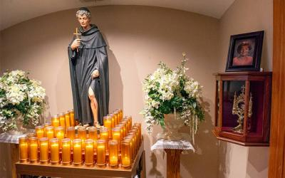 <p>Cancer patients, cancer survivors and caregivers gather monthly at the shrine to St. Peregrine at St. Francis of Assisi Church in Auburn. St. Peregrine is the patron of those afflicted with cancer, leg ailments or other life-threatening illnesses. (File photo)  </p>