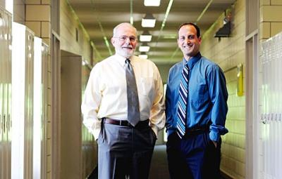 Tim Leahy (left) retired as principal of Brighton's Siena Catholic Academy at the end of the 2010-11 school year. He was replaced by Vice Principal Vincent Tata (right).