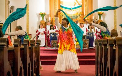 <p>Mary Wingo performs on the first night of the Black Catholic Revival at Immaculate Conception Church Nov. 11, 2015. </p>