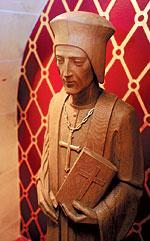 Sacred Heart Cathedral features astatue of the diocese's patron, St.John Fisher.