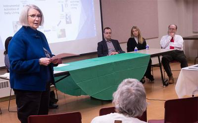 <p>Dr. Kathleen McGrail speaks during a workshop on end-of-life issues that took place at Rochester&rsquo;s Sacred Heart Cathedral Jan. 18. (Courier photo by John Haeger)  </p>