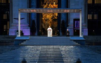 <p>Pope Francis leads a prayer service in an empty St. Peter&rsquo;s Square at the Vatican March 27. (CNS photo by <strong>Vatican Media</strong>)  </p>