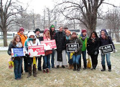 Father Isaac Slater (center), prior of the Abbey of the Genesee, met up with SUNY Geneseo Newman Community members at the 2013 March for Life.