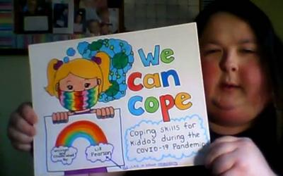 <p>Elizabeth Pearson reads from her book, <em>You Can Cope: Coping Skills for Kiddos During the COVID-19 Pandemic</em>. (Courier screenshot via YouTube)  </p>