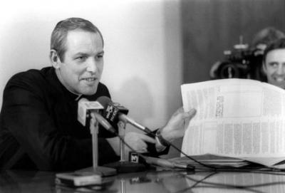 "Bishop Matthew H. Clark itroduces his first pastoral letter, ""The Fire in the Thornbush,"" during a press conference on April 27, 1982."