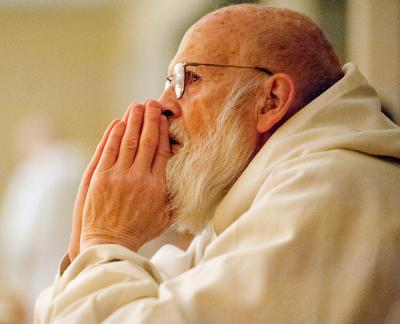 Trappist Brother Christian Walsh waits silently for 2:25 a.m. prayer to begin at Abbey of the Genesee Nov. 5, 2014.