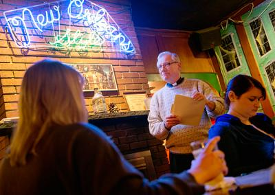 Father Robert Kennedy gives the first presentation in the four-week Lenten Theology on Tap series on Feb. 22 at The Beale New Orleans Grille & Bar in Rochester.