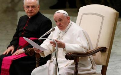 Pope Francis speaks in Paul VI hall at the Vatican