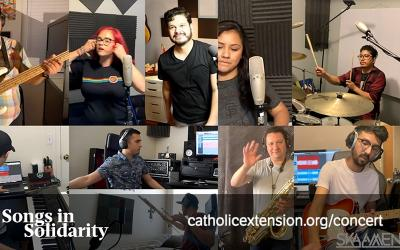 "This photo is part of promotional campaign for the Catholic Extension's program ""Songs in Solidarity,"" which is billed as special performances by Catholic artists from U.S. mission dioceses helped by Extension."