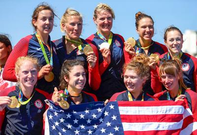 Naples native Meghan Musnicki (top row, second from left) poses with her team after winning a gold medal in women's eight rowing final during the 2016 Summer Games in Rio de Janeiro.